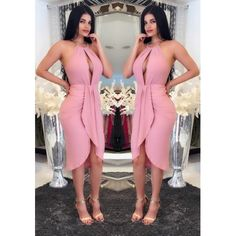 MalangFashion Pink Plain Irregular Cut Out Condole Belt Midi Dress