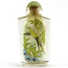 Chinese Reverse Painted Glass Snuff Bottle with Birds