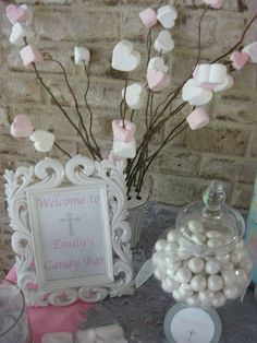 Silver, white and pale pink First Communion Party Ideas | Photo 4 of 17 | Catch My Party
