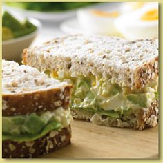 Egg and Avocado Sandwiches; Ditch the boring tuna and salad. Try this tasty and healthy sandwich instead!  http://www.avocado.org.au/recipes/recipe_finder/egg-and-avocado-sandwiches-300.aspx