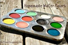Homemade Watercolors - Do you run out of green and blue water colors before any other color? Muddy colors? Your problems are solved. Save your empty plastic soda bottle tops and fill them up for individual paint cups. See all my children's art activities and recipes on NuttinbutPreschool to keep your children busy creating.