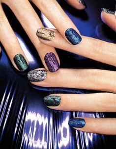 Nailwear Pro+ in Licorice with Mosaic Effects Top Coat in Blue Flash, Gleaming Emerald, Fiery Fuchsia, Gold Glimmer and Mosaic Mica. #Avon #Nails #NOTD
