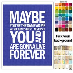 Oasis+Song+Lyric+Print++Live+Forever+typography+by+FancyThisPrints,+$12.00