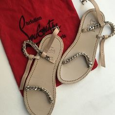AUTHENTIC Christian Louboutin Espadrille Flat Worn once! Bought a size too small because they were the last ones left hoping they would fit, but they don't :( Chain link detailing with Espadrille rope detail around the leather soles. Signature red soles have mild wear. Foot beds are clean and show no sign of use. Includes original dust bag. Christian Louboutin Shoes Sandals