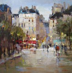 Barbara Flowers Paris Life Urban Landscape, Landscape Art, Landscape Paintings, Paris Painting, City Painting, Building Painting, Impressionist Art, Environmental Art, French Art