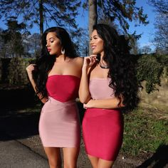 Klaudia & Laura Badura, Red & pink bandage dress, Badura Twins