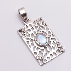 Natural Handmade Bue Rainbow Moonstone 925 Sterling Silver Pendant Jewelry #PI #Pendant