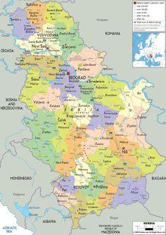 Political Map of Serbia - Ezilon Maps