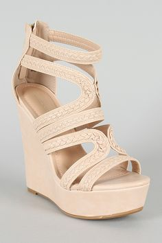 Bamboo Kingsley-04 Braided Strappy Platform Wedge $30.40
