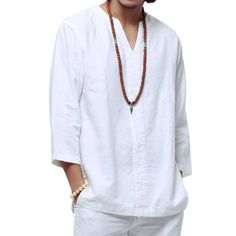 Buy Chinese style linen shirt Plus size men casual Breathable white soft three quarter shirt Camisa masculina hot sale Costume Blanc, Beach Shirts, White Shirts, Linen Shirts, White Outfits, Shirt Price, Shirt Sleeves, Types Of Shirts, Casual Shirts