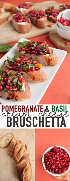 Bring this vegan Pomegranate and Basil Cream Cheese Bruschetta to your next Christmas party for a guaranteed hit! Click the photo for the full recipe.