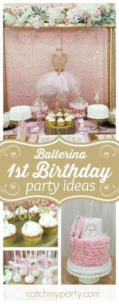 Fall in love with this gorgeous ballerina themed 1st Birthday. The cakes are stunning!! See more party ideas and share yours at CatchMyParty.com