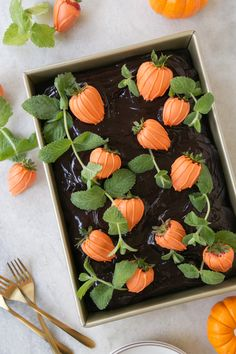 Chocolate Pumpkin Patch Cake Learn how to make a Pumpkin Patch Sheet Cake! A chocolate pumpkin cake with chocolate ganache and California Strawberries dipped in candy melts! The cutest and most delicious pumpkin patch ever! Halloween Desserts, Postres Halloween, Halloween Food For Party, Halloween Cupcakes, Holidays Halloween, Halloween Kids, Halloween Costumes, Halloween Makeup, Outdoor Halloween