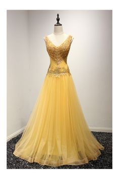 Shining Sequined Gold Prom Dress Formal With Beading