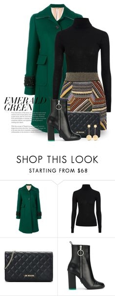 """Emerald City: Pops of Green 5170"" by boxthoughts ❤ liked on Polyvore featuring N°21, Topshop, Missoni, Love Moschino, Off-White, J.W. Anderson and emeraldgreen"