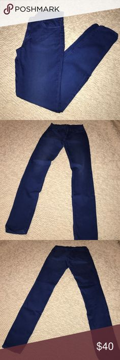 """J Brand Super Skinny Jeans 27 J Brand super skinny jeans in blue wash...as in colored blue, not a standard jean color. Color is best described as cobalt and best depicted in first (stock pic) and last photo directly above the J Brand tag. Very good pre-owned condition with slight fading. No loose seams, tears, or stains found. 30"""" inseam. 98% cotton 2% elastane. J Brand Jeans Skinny"""
