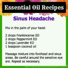 Blend for Sinus headache Living Essentials, Young Living Essential Oils, Doterra, Health And Beauty