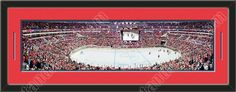 This framed large Washington Capitals stadium panoramic, double matted in team colors to 39 x 13.5 inches.  The lines show the bottom mat color. $129.99             @ ArtandMore.com