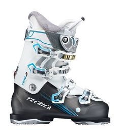 Tecnica Ten.2 95 W  Tecnica wanted its new wide-fit boot to retain the core DNA of its narrower performance boots but with a roomier interior for women with thicker feet and legs. Our testers said it succeeded. The Ten.2 performed with power to spare. It is a big, burly boot for big, burly skiers with wide feet, high instep volume, and muscular calves. It stays firm under pressure and skis with a pleasant nature, tough and cuddly like a kung fu panda. LAST 102 mm FLEX 95 MSRP $525