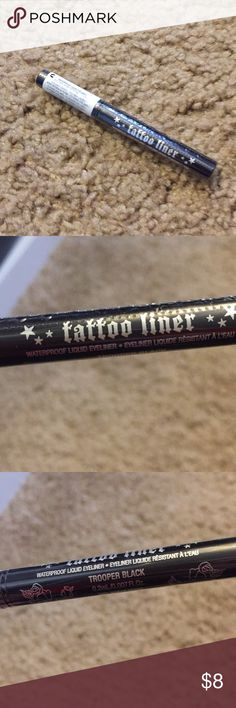 30% off today: Kat Von D tattoo liner delux sample Kat von D tattoo liner deluxe sample size. It's water proof liquid eyeliner in the color trooper black. New in packaging, never been opened/used. Very willing to negotiate- bundle this with other stuff in my closet and I'll make you an offer! I'll work with you to get the price you want 😊 Kat Von D Makeup Eyeliner