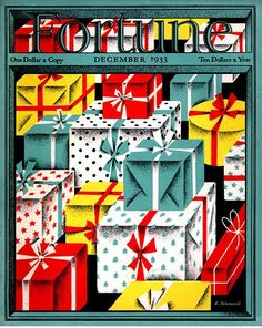 1930s Christmas graphics on cover of Fortune magazine.
