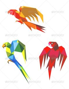 Abstract Origami Parrots  #GraphicRiver         Abstract flying origami parrots isolated on white background. Editable EPS8 (you can use any vector