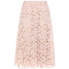 Valentino Lace Cotton-Blend Skirt (42.860.905 IDR) ❤ liked on Polyvore featuring skirts, pink, valentino skirt, pink skirt, lacy skirt, lace skirt and knee length lace skirt