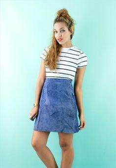 Blue Suede A-Line Mini Skirt