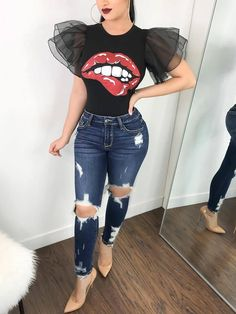 Exaggerate Lips Print Mesh Layered Sleeve Tee Two pieces Outfit accessories Jumpsuit romper Fashion outfits Trendy dresses Women's Summer Fashion, Look Fashion, Fashion Outfits, Womens Fashion, Fashion Trends, Feminine Fashion, Ladies Fashion, Fashion Bloggers, Fashion 2017