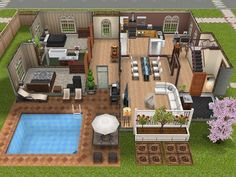 Sims Landing: A Sims FreePlay Town — This two-story house in the scenic Sims Landing...