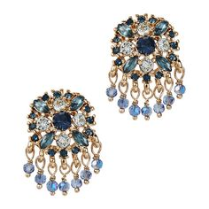 MARCHESA Shaky Button Blue Crystal-embellished Earrings (1.710 CZK) ❤ liked on Polyvore featuring jewelry, earrings, earring pendants, blue pendant, marchesa, pendant earrings and blue earrings