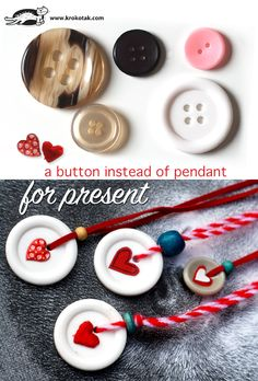 A button instead of a pendant charm makes an easy peasy crafty sweet  necklace or keychain present