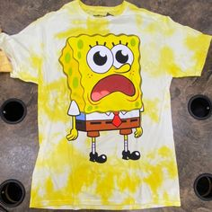 Brand new tie dye yellow spongebob graphic tee Size medium / unisex Brand new Bleach Shirts, Tie Dye Shirts, Cute Swag Outfits, Retro Outfits, Spongebob Shirt, Graphic Tee Outfits, Bleach Tie Dye, How To Tie Dye, Girls Fashion Clothes