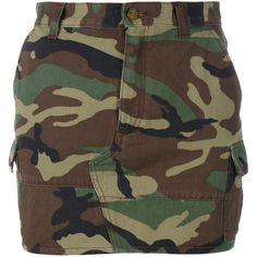 Saint Laurent Camouflage Print Mini Skirt (2,205 ILS) ❤ liked on Polyvore featuring skirts, mini skirts, bottoms, denim, camo mini skirt, short mini skirts, short brown skirt, short skirts and military skirt