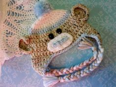 Crochet Baby Infant Sock Monkey Hat with Earflaps by crafthappenz, $18.00