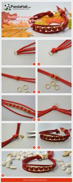Red Faux Suede Cords Bracelet