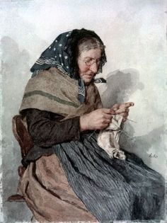"""Knitting Farmer"" by Albert Anker: Knit Art, Vintage Knitting, Knitting Socks, Illustrations, Female Art, Painting & Drawing, Fiber Art, Needlework, Sketches"