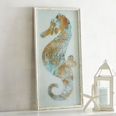 Framed Seahorse Wall Decor Blue