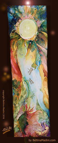 "Emerald Forest - handpainted original Silk painting by Bettina Star-Rose ~ 76"" x 21"""