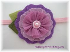 Handmade Wool Felt with Fabric Flower Center---Light Purple and Lavender