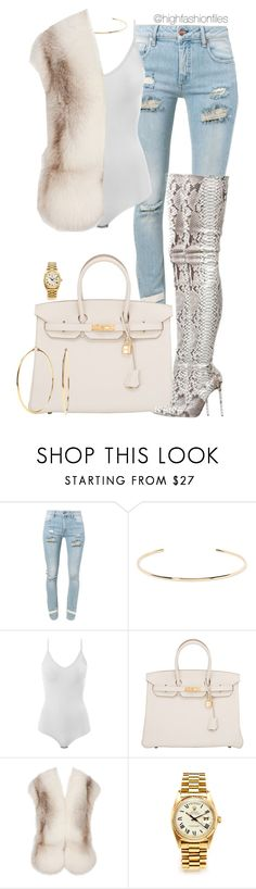 """""""Untitled #2718"""" by highfashionfiles ❤ liked on Polyvore featuring Off-White, Jennifer Fisher, Intimissimi, Hermès, Christian Louboutin, Jil Sander, Rolex and Nadri"""