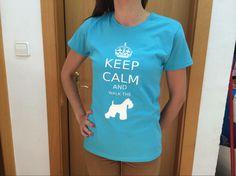 """Camiseta celeste y blanca..""""Ten calma y pasea a tu schnauzer""""..en cuentrala en..por solo 18 euros https://www.facebook.com/pages/Schnauzer-MINI-Merchandising/1488670871347549?ref=hl"""