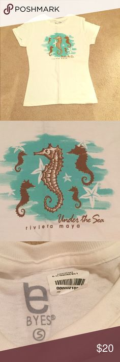 NEW Seahorse Shirt New and never been worn white short sleeve Sea Horse top. Tops Tees - Short Sleeve
