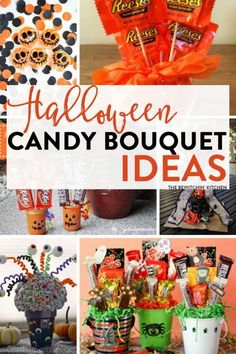 Halloween Candy Bouquet Ideas Halloween Candy Bouquet Ideas 7 easy DIY candy bouquets for fun Halloween party decor or special trick or treaters. The post Halloween Candy Bouquet Ideas appeared first on Halloween Candy. Halloween Candy Crafts, Halloween Gift Baskets, Halloween Goodies, Halloween Party Decor, Halloween Fun, Halloween Treats, Halloween Design, Fall Treats, Halloween House
