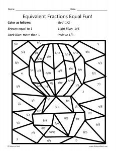 math worksheet : equivalent fractions worksheetsthese coloring sheets make  : Equivalent Fraction Worksheets With Pictures