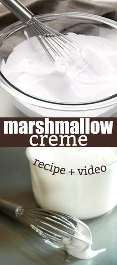 There are only 5 ingredients (including water!) in this simple recipe for homemade marshmallow creme (or marshmallow cream), the soft, spreadable fluff. So easy!