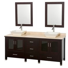Lucy 72 Inch Contemporary Espresso Double Bathroom Vanity WC MS015 72 ESP By