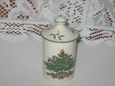 Spode Christmas Tree Green Trim Spice Jar by CollectorVintageShop