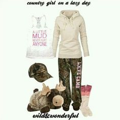 A fashion look from July 2013 featuring Fat Face hoodies, American Eagle Outfitters socks and Realtree hats. Browse and shop related looks. Country Style Outfits, Country Wear, Cute N Country, Country Girl Style, Country Fashion, My Style, Country Life, Lazy Day Outfits, Camo Outfits