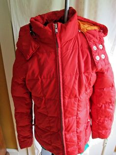 Gap Women's Down Puffer Coat Jacket - Cherry Red Parka size XS #GAP #Puffer #Casual